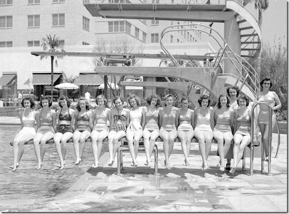 Bathing beauties at the Shamrock Hotel, Houston 1950s