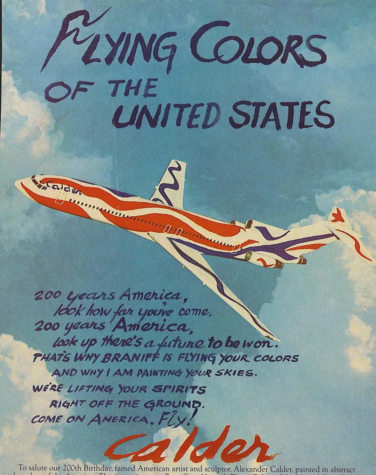 Braniff airplane by Alexander Calder ad, 1976