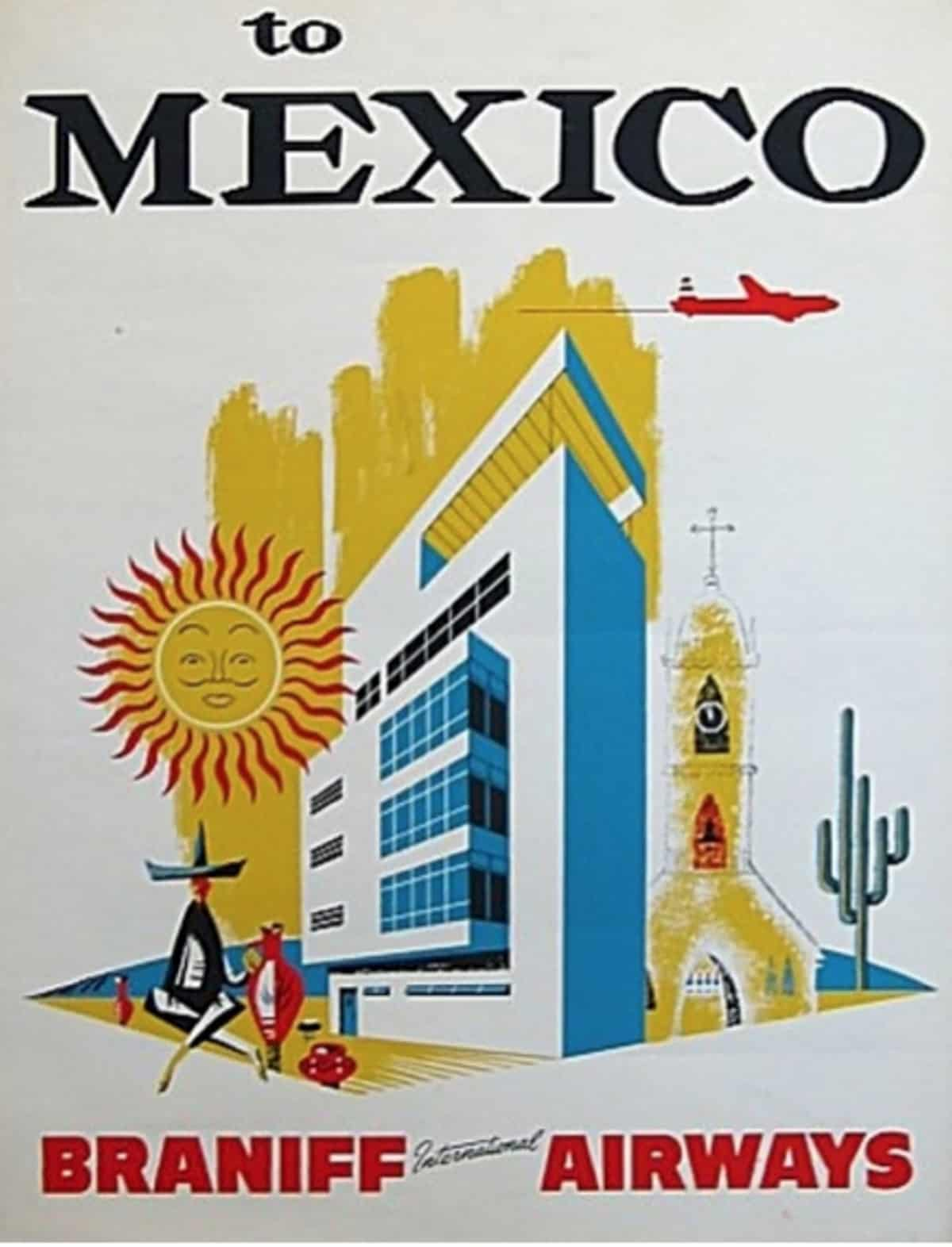 Braniff to Mexico poster, 1960s