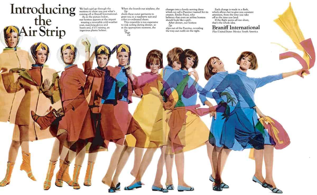 Braniff's Pucci magazine ad, 1960s