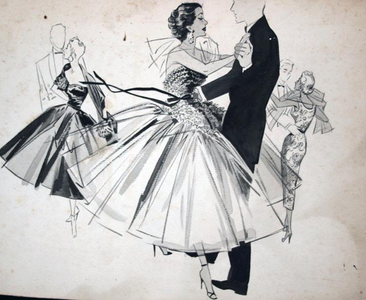 CROP Downtown Houston hotel gala attire, 1950s