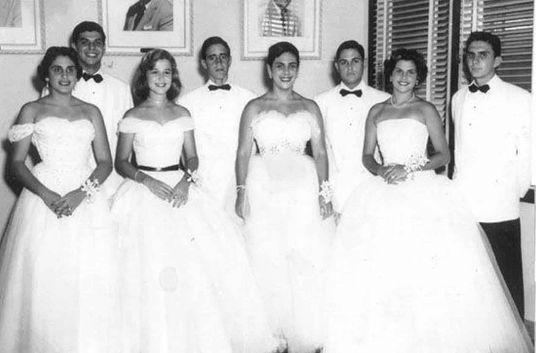 Debutantes and escorts, 1950s