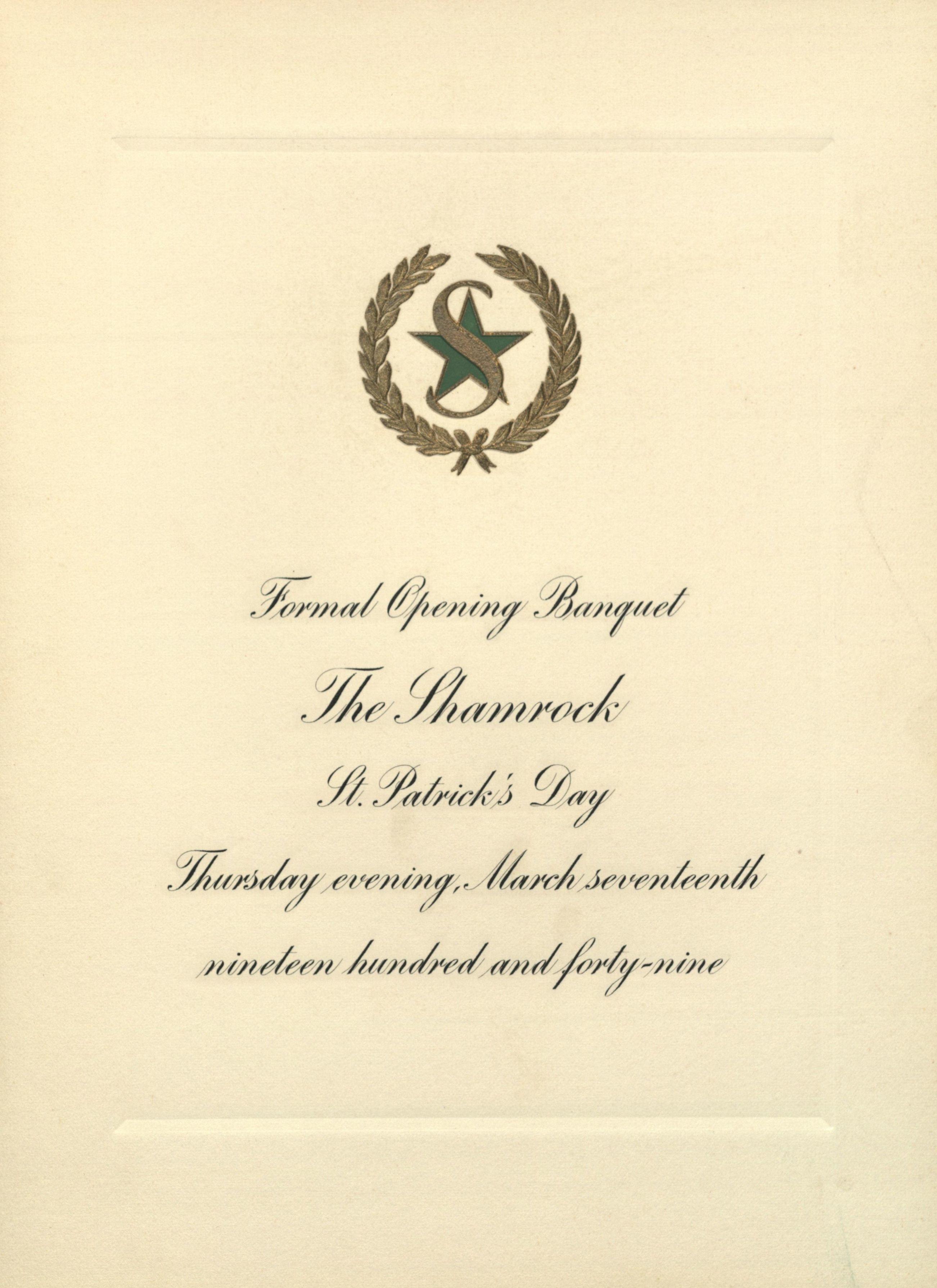 Opening gala invite for the Shamrock Hotel