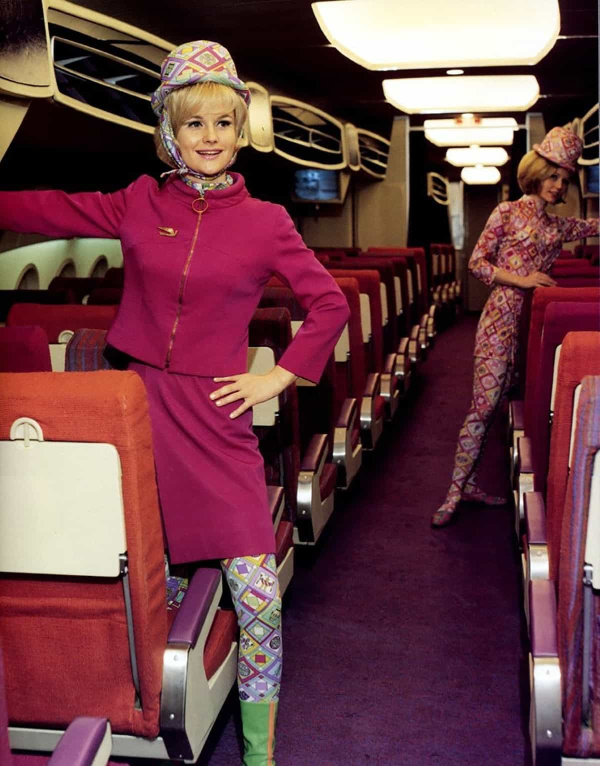 Pucci uniforms on Braniff, 1960s