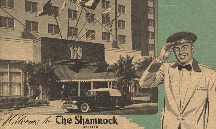 Shamrock Hotel promotion piece DELETE X MARK IN POOL