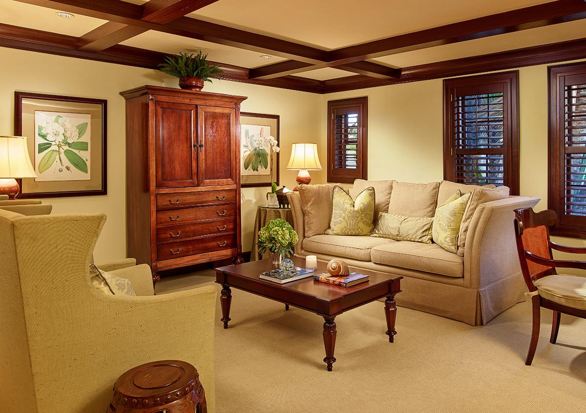 The Rita Hayworth Suite living room at Brazilian Court