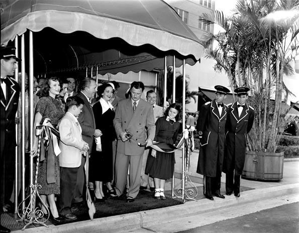 The Shamrock Hotel ribbon-cutting, 1949