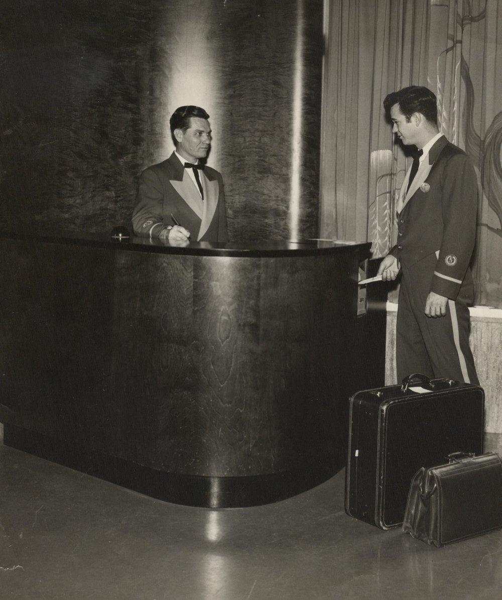 The bellhop desk at the Shamrock, 1950s