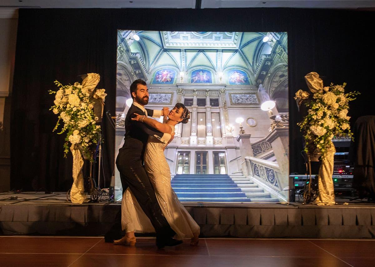 Professional waltz dancers perform