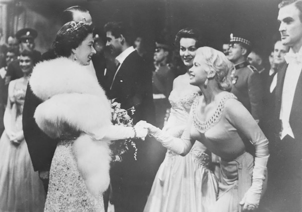 Jayne Mansfield meets Queen Elizabeth, 1957