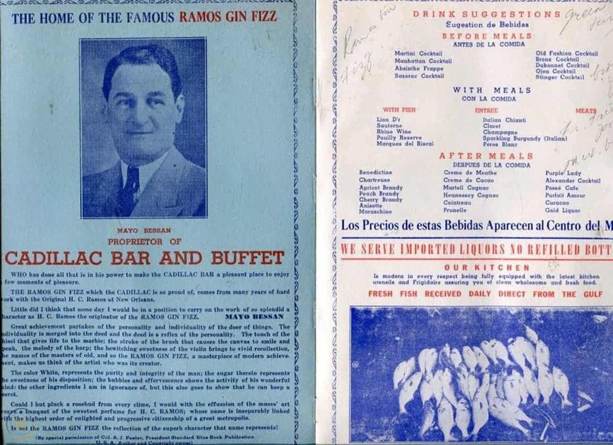 Cadillac Bar menu, 1948 BACK