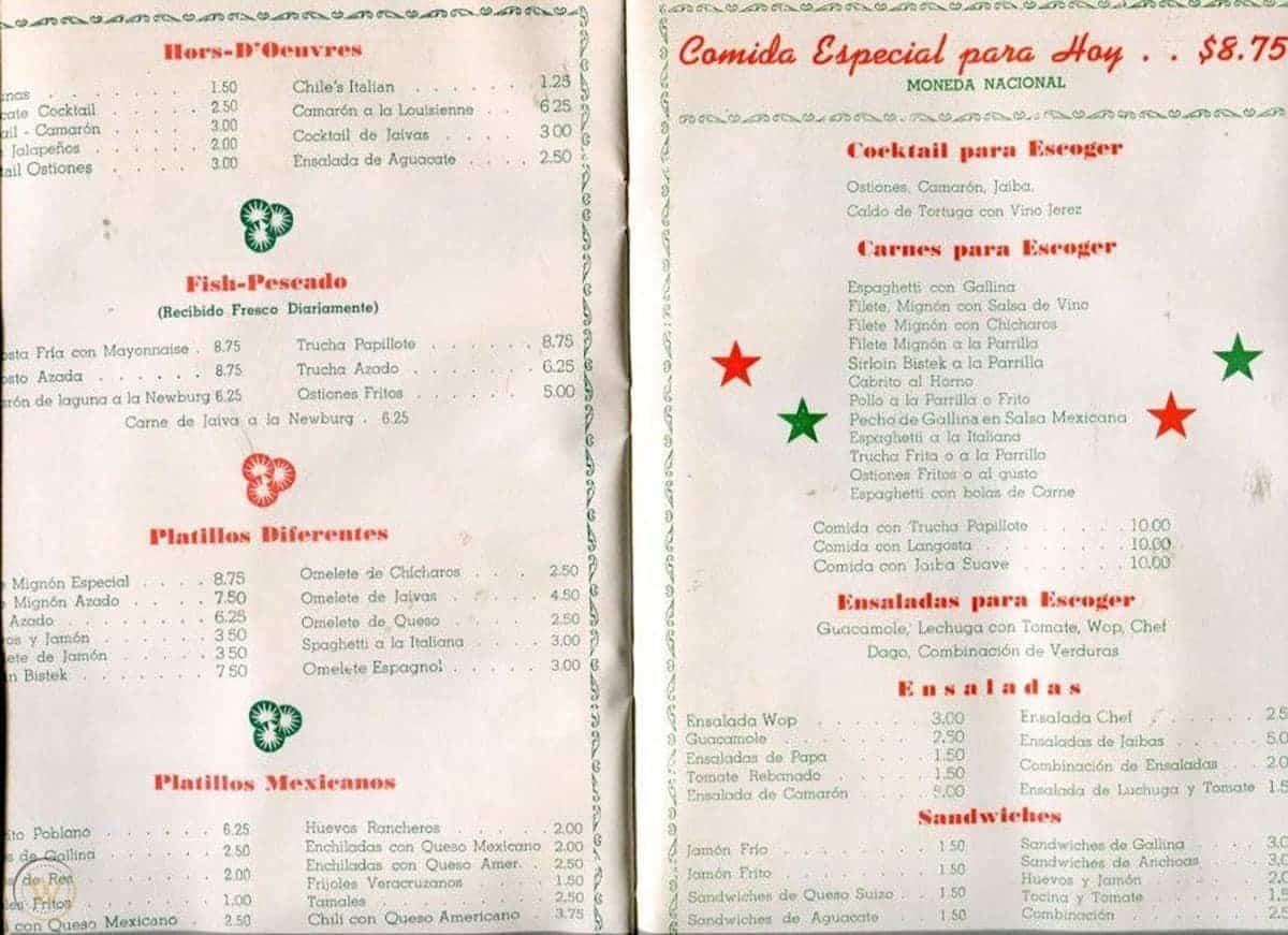 Cadillac Bar menu, 1948