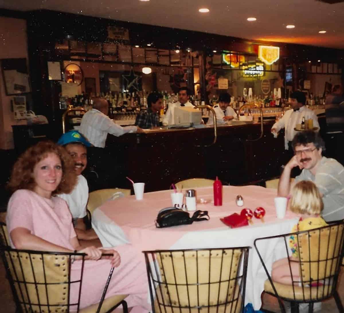 Lori Duran, Juan Duran, Bill Clahoun and Emily Calhoun dining at The Cadillac Bar, 1993