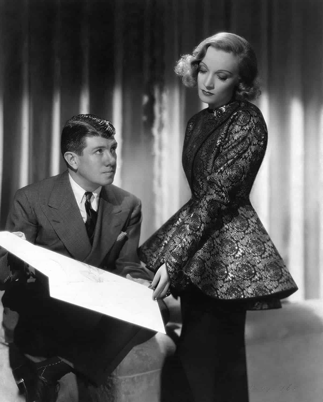 Travis Banton and Marlene Dietrich, 1937. Paramount Pictures publicity still